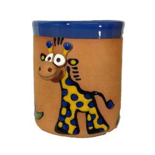 Clay cups animal motifs Giraffe blue