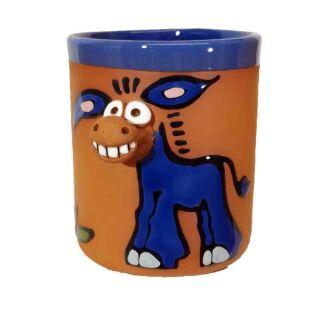 Tasses en argile motifs animaux Ane bleu