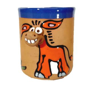 Tasses en argile motifs animaux Ane orange