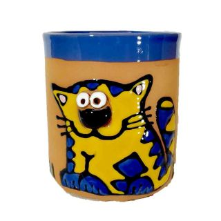 Clay cups animal motifs Cat yellow