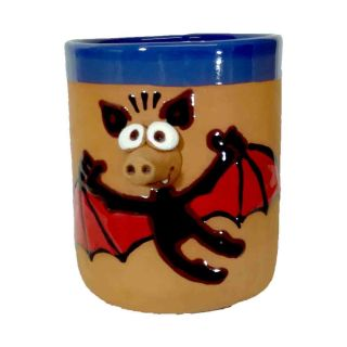 Clay cups animal motifs Bat black