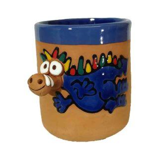 Clay cups animal motifs Dragon blue