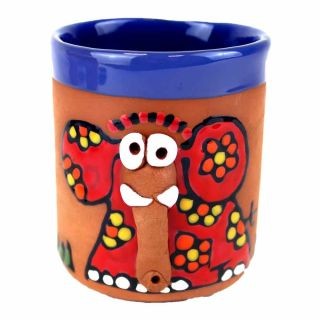 Clay cups animal motifs Elephant red