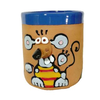 Clay cups animal motifs Mouse yellow