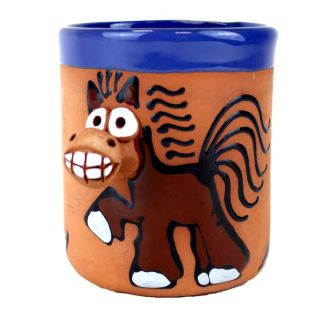 Clay cups animal motifs Horse brown