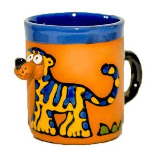 Clay cups animal motifs Tiger blue