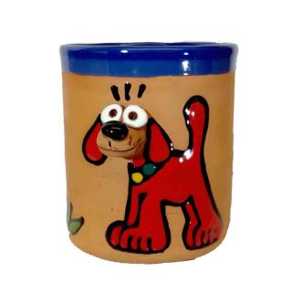 Clay cups animal motifs Dog red
