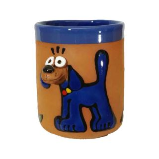 Clay cups animal motifs Dog blue