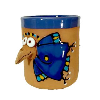 Clay cups animal motifs Raven blue
