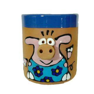 Schwein hellblau